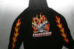 Fast50s - Fast50s Hooded Sweatshirt with Skull Logo & Flames - BLACK